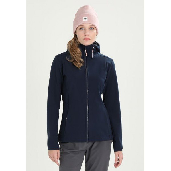 gray knitted hat with a dark blue fleece sports coat