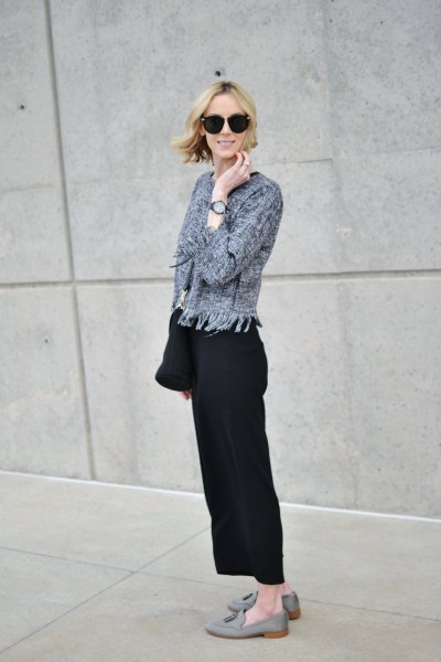 gray cardigan with black wide-leg pants and suede loafers