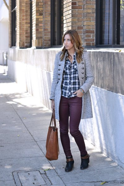 gray knitted longline coat with checked boyfriend shirt and waxed jeans