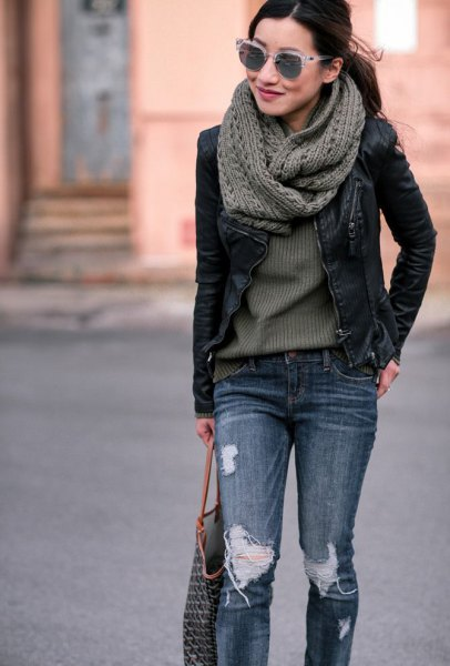 gray knitted scarf with black leather moto jacket