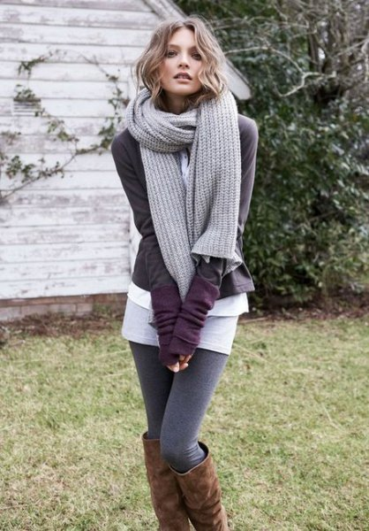 gray knitted scarf with cardigan and sweater gaiters