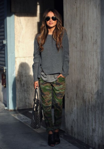 gray knitted sweater Army Pants