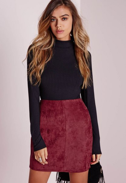 gray knitted sweater, red velvet skirt with a high waist