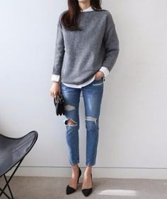 gray knitted sweater with white shirt and ripped skinny jeans