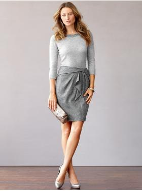 gray knotted mini wool skirt