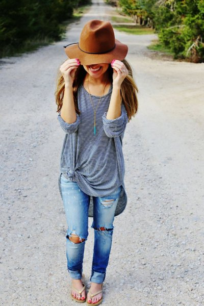 gray knotted oversized long sleeve t-shirt and green floppy hat