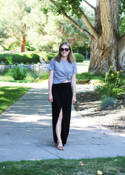 gray knotted t-shirt with black, high-slit cotton maxi skirt