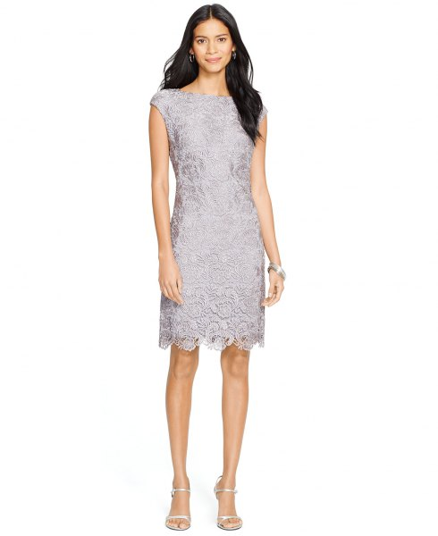 gray lace dress with cap sleeves and scalloped hem