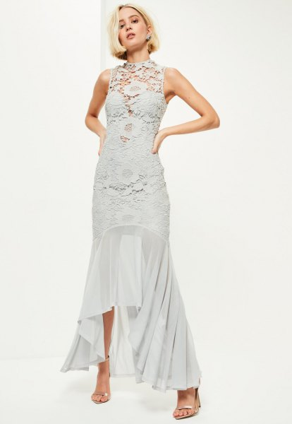gray lace dress with an asymmetrical fishtail