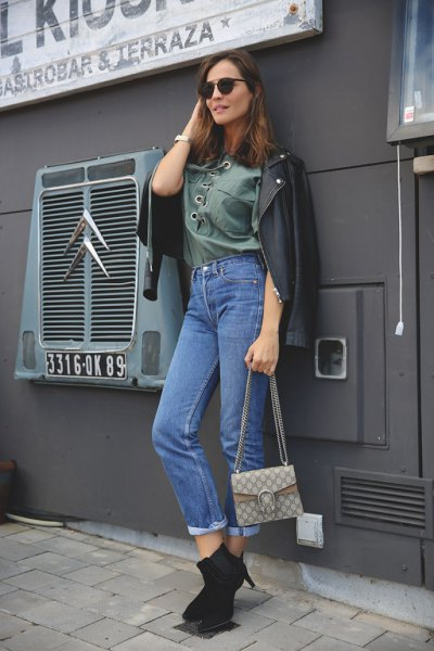 gray lace up mother jeans leather jacket