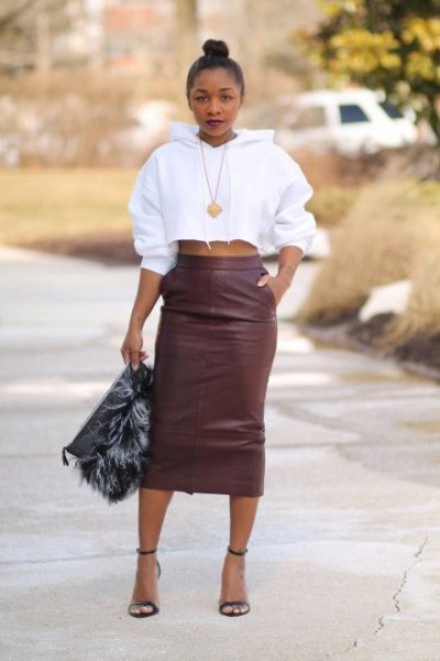 gray leather skirt with a high waist