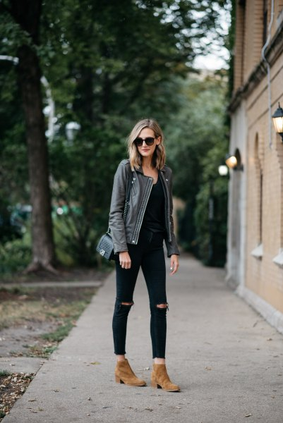 gray leather jacket all black outfit