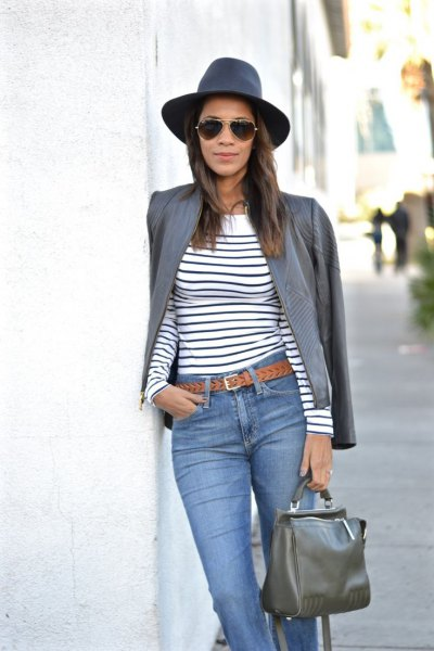 gray leather jacket navy and white striped long-sleeved T-shirt