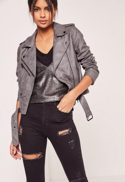 gray leather jacket silver vest top ripped black jeans