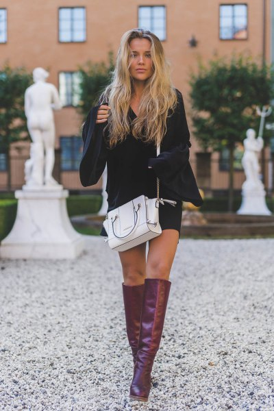 gray knee high leather boots white leather handbag