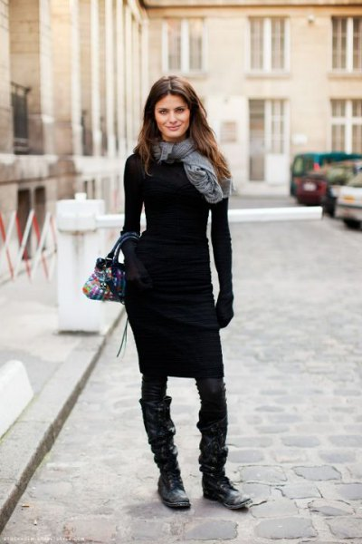 gray linen scarf with figure-hugging sweater dress and boots