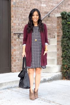 gray long cardigan with black and white tribal mini dress