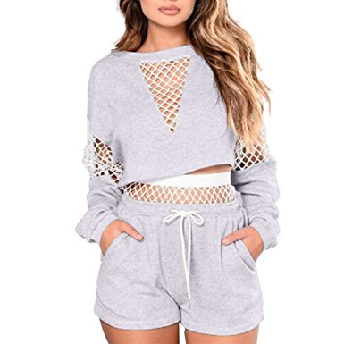 gray, long-sleeved mesh top with matching cotton jogger shorts