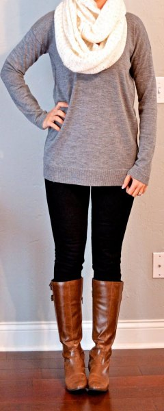 gray long sweater with white knitted scarf