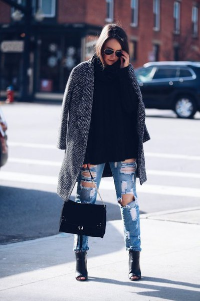 gray long tweed blazer with destroyed blue jeans and leather peep-toes