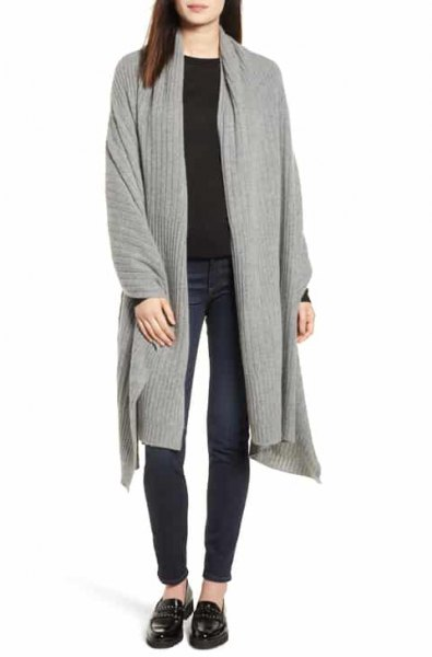 gray longline cardigan with black sweater and slippers