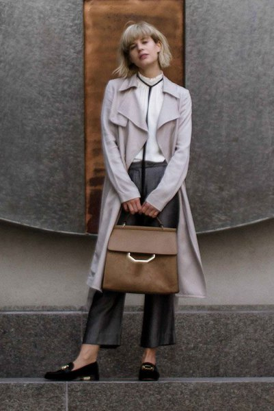 gray longline trench coat with black suede slippers