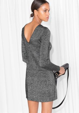 gray mini dress made of wool with a low back