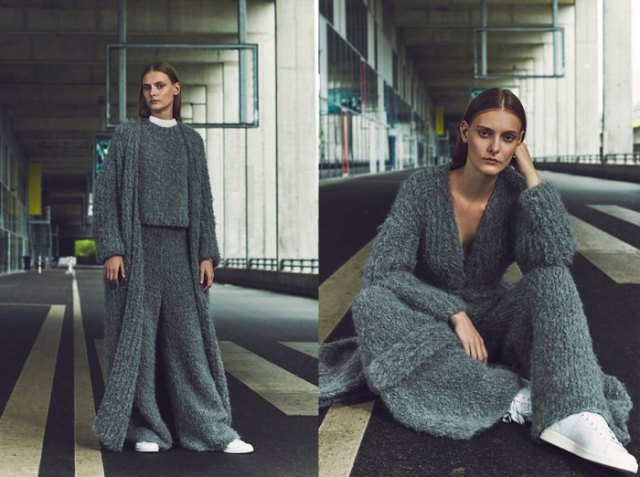 gray, ribbed maxi cardigan with matching top and matching pants