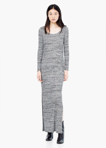 gray maxi shift knitted sweater dress with boots