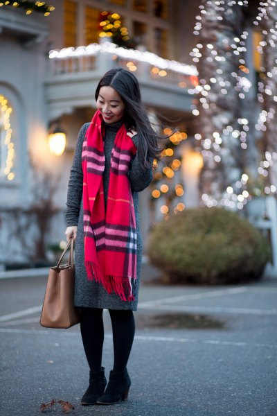 gray maxi sweater dress red scarf