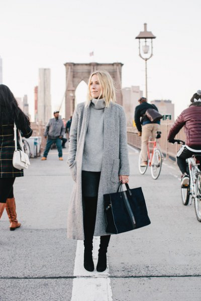 gray long coat made of maxi wool with thick turtleneck sweater
