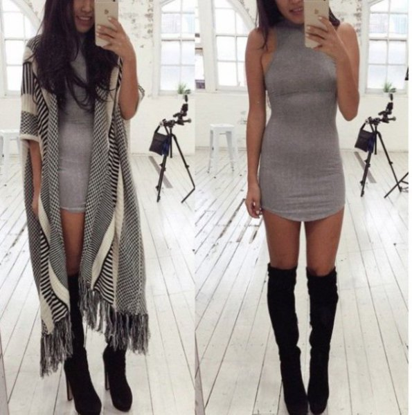gray mini halter dress with black boots above the knee