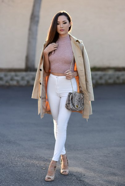 gray, figure-hugging, cropped sweater with white skinny jeans
