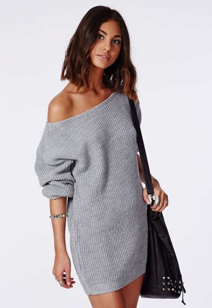 gray strapless knitted sweater dress
