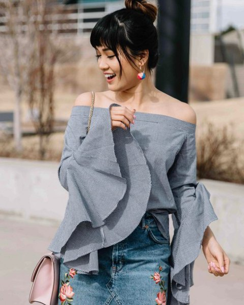 gray off the shoulder bell sleeve up