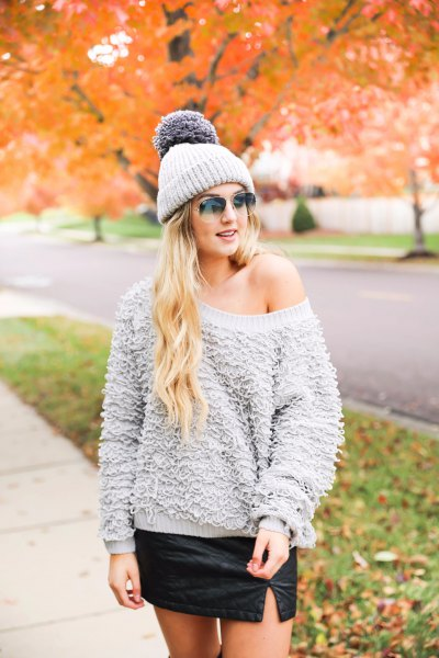 gray chunky teddy sweater with one shoulder