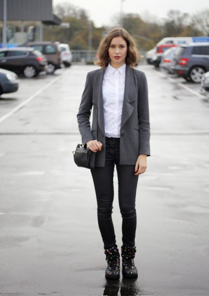 gray oversized blazer with white shirt and black, slim suit trousers