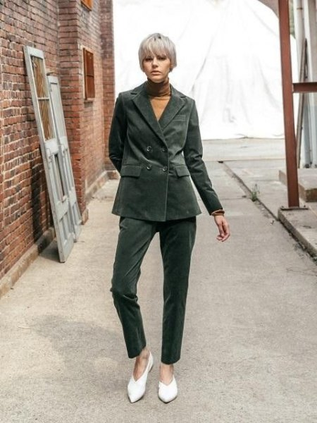 gray oversized corduroy blazer with matching trousers