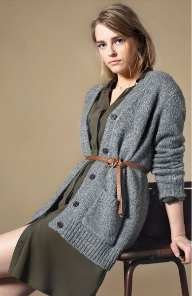 gray, oversized, green knitted dress made of a knitted cardigan