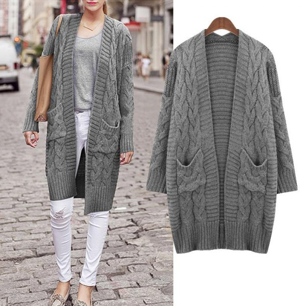 gray, oversized knitted sweater cardigan with white skinny jeans