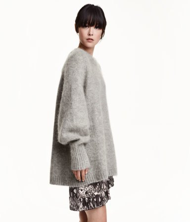 gray oversized mohair knit pullover mini skirt