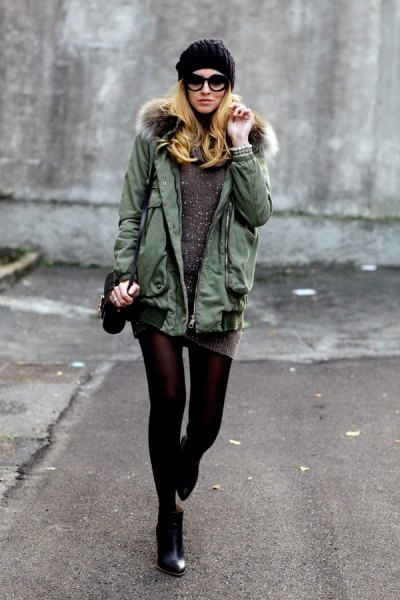 gray parka jacket knitted sweater dress