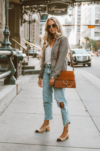 gray checked blazer with white tank top with scoop neckline and boyfriend jeans