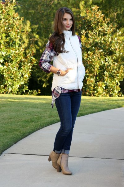 gray plaid boyfriend shirt and blushing pink leather ankle boots