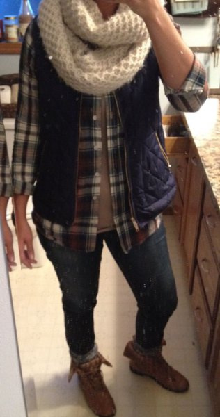 gray plaid shirt with button placket gray fold over ankle boots