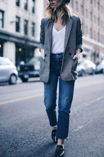gray checked jacket with white tank top with scoop neckline and high-waisted jeans