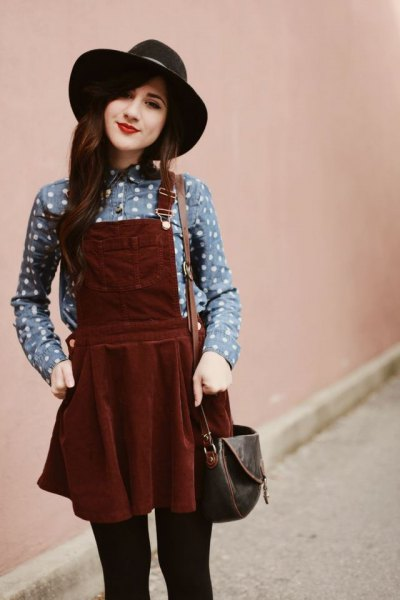 gray polka dot shirt, burgundy pinafore dress