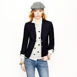 gray polka dot sweater with black knitted blazer and blue jeans