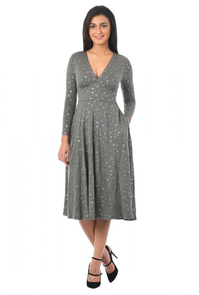 gray printed, deep V-neck dress and flared jersey knit dress