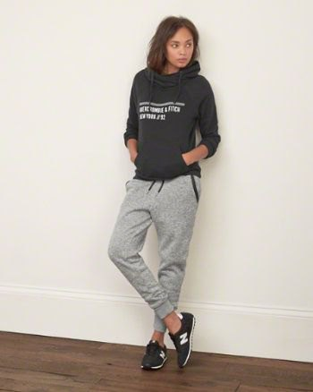 gray printed hoodie with sweatpants and black pullovers